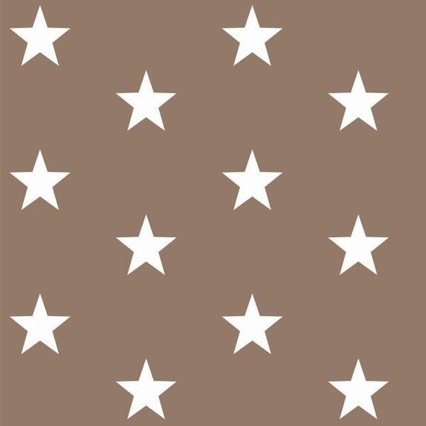 Lili Big Star weiß auf taupe, Webstoff, waschbar bei 60°