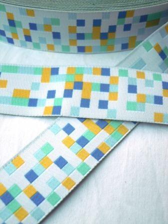 Mosaik, blau-grün, Webband breit