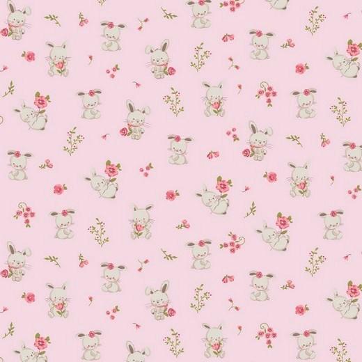 BIO-Baumwolllstoff, Sweet Bunny rosa, waschbar bei 60°