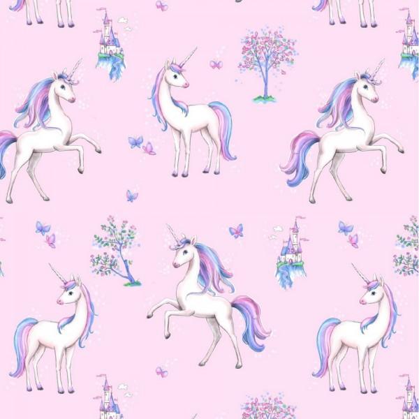 Digitaldruck, Unicorn Paradise auf rosa, Bio-Jersey