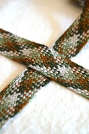 breite, flache Kordel, Multicolor, braun-grün *SALE*