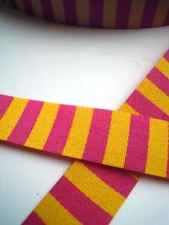 Ringelband, pink-gelb, Webband beidseitig