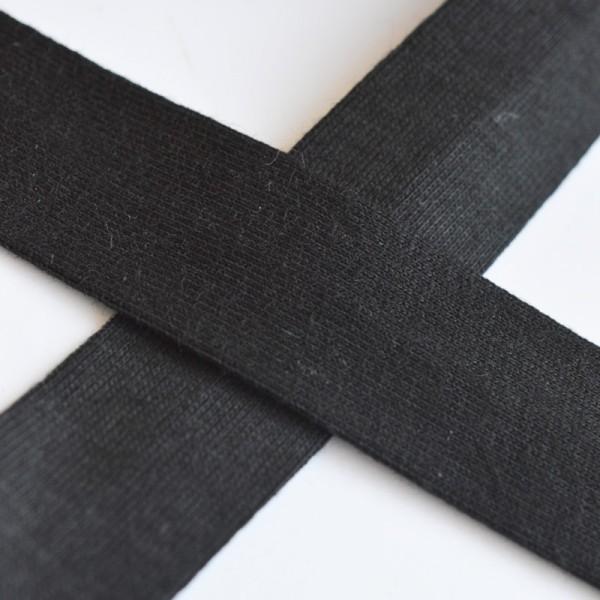 Baumwolljersey-Schrägband ohne Elasthan, schwarz