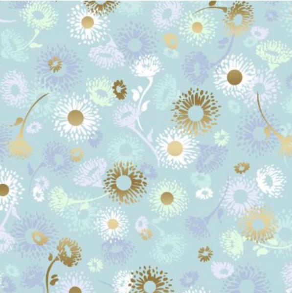 Shiny Objects, English Daisies gold/hellblau, Webstoff