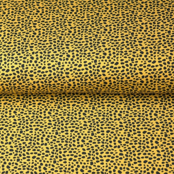 Double Gauze/Musselin, kleines Leopardenmuster senf/schwarz