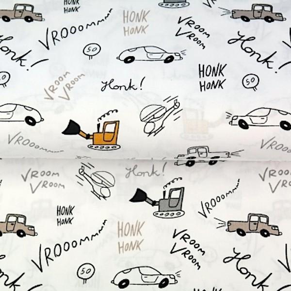 Stenzo Autos&Bagger mit gelb auf weiß, Popeline