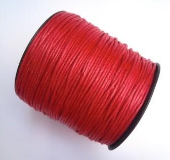 gewachste Baumwollschnur, 2mm, rot