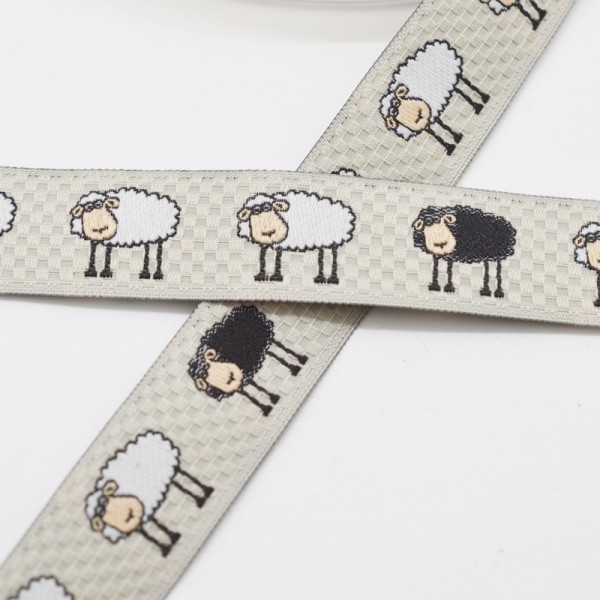 weiße und schwarze Schafe, grau, Webband