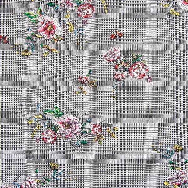 Viskosetwill Blumen auf Glencheck, schwarz-weiß, *Letztes Stück ca. 110 cm*
