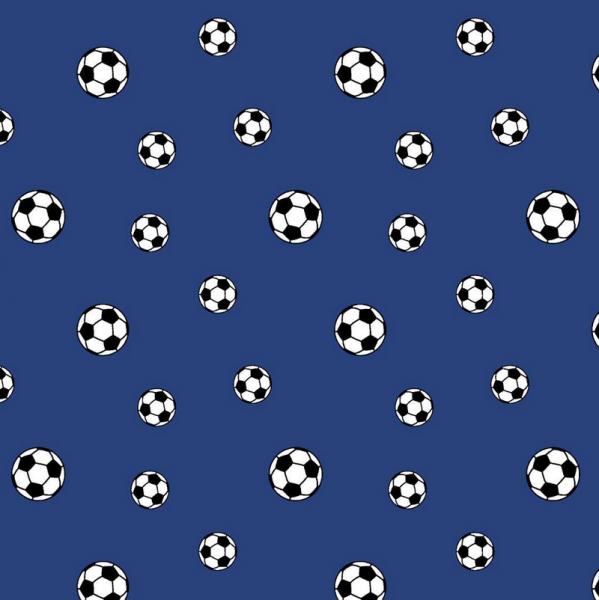 Fußbälle auf blau, Baumwoll-Popeline