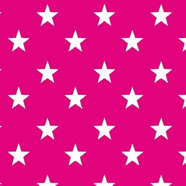 Lili Big Star weiß auf pink, Webstoff, waschbar bei 60°