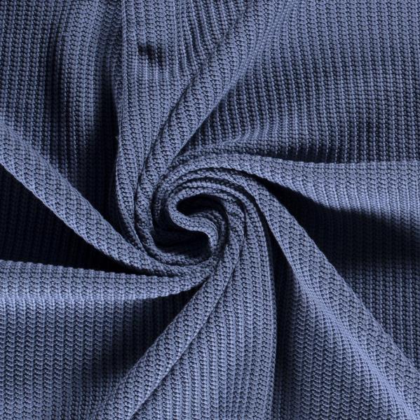 Grober Baumwoll-Strickstoff jeansblau