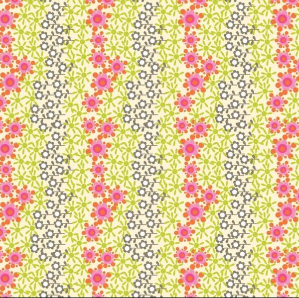 blendfabrics, Home Grown Blumen hellgrün, Webstoff, *Letztes Stück ca. 100 cm*