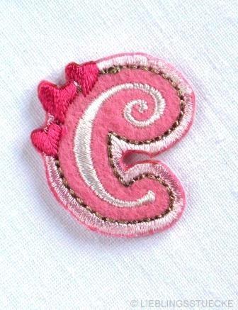 Applikation Buchstabe c, rosa