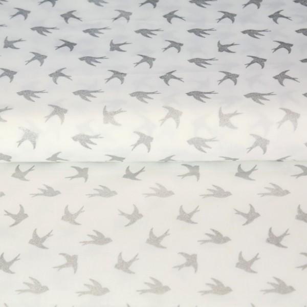 Stenzo Glitzer-Vögel silber auf weiß, Popeline