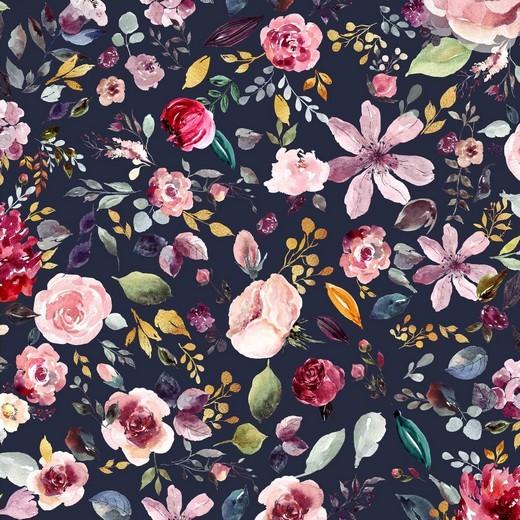 Digital Painted Flowers dunkelblau, Bio-Jersey