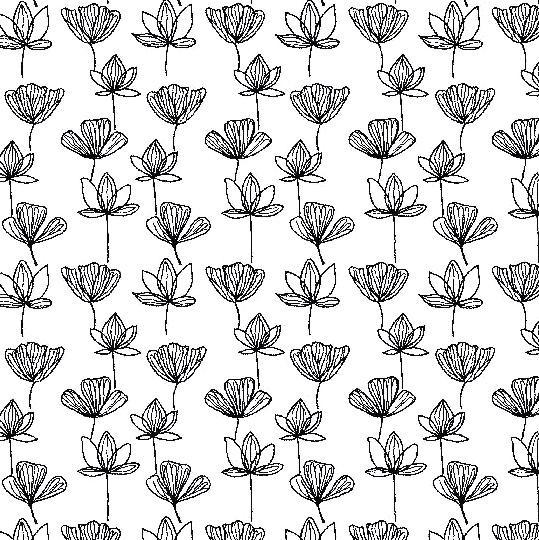Viskosewebstoff Blumentraum schwarz auf weiß
