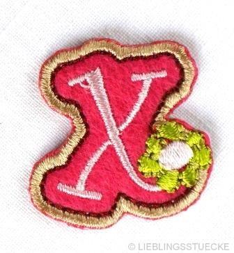 Applikation Buchstabe x, rosa