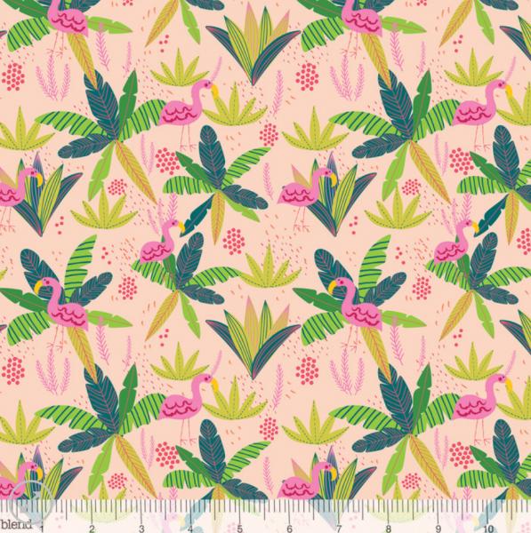 blend fabrics, Junglemania Flamingo rosa, Baumwollstoff