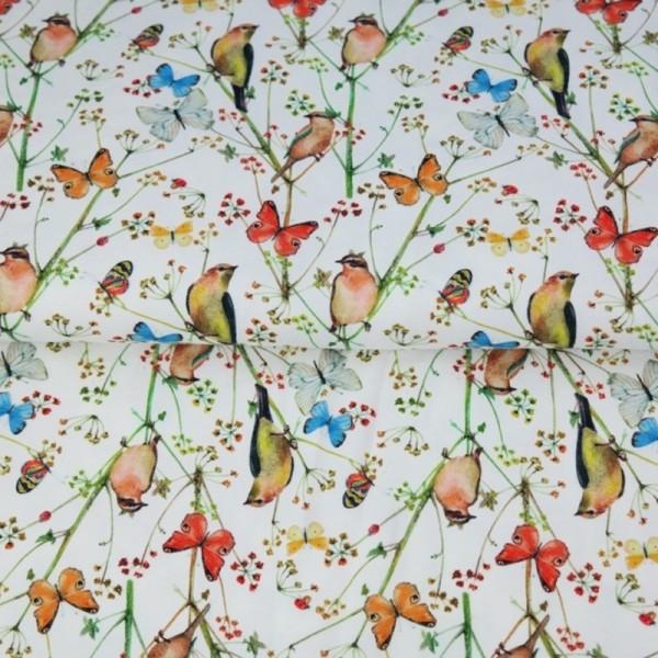 Stenzo Schmetterlinge und Vögel weiß, Popeline