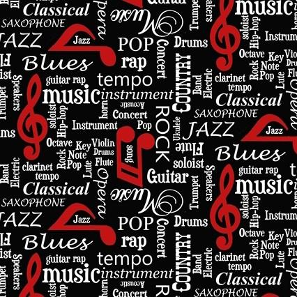 Musicality Schriftzüge schwarz, Webstoff