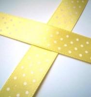 Satinband, micro dots, gelb, 15 mm