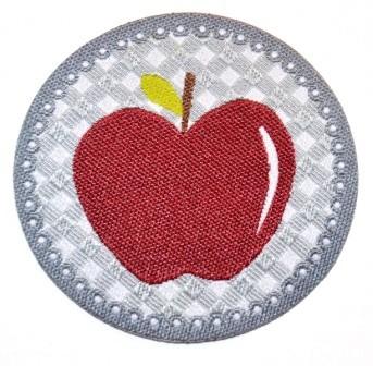Applikation Apfel weinrot auf grau