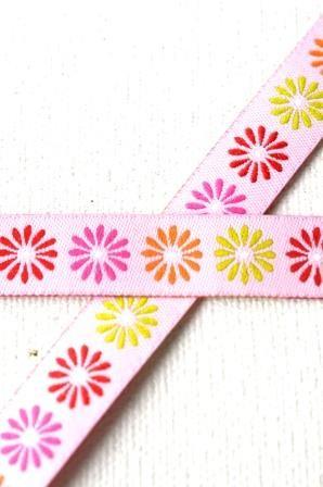 bunte Gänseblümchen, rosa, Webband