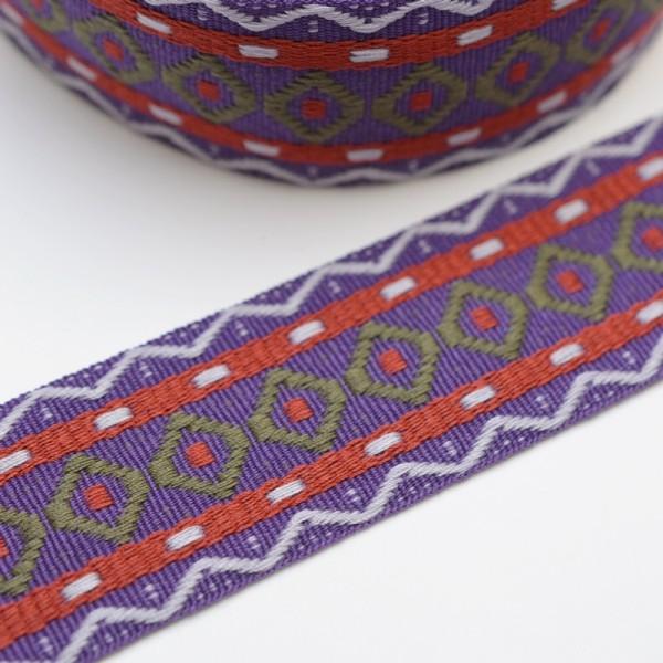 Rhombus Zick-Zack, violett, Webband