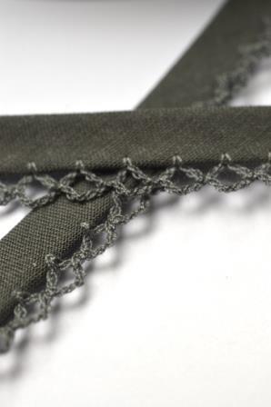 Schrägband mit Häkelborte, dunkelgrau