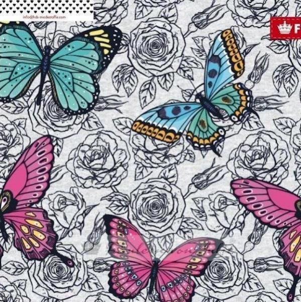 Fräulein von Julie, Bunte Schmetterlinge grau-meliert, Jersey