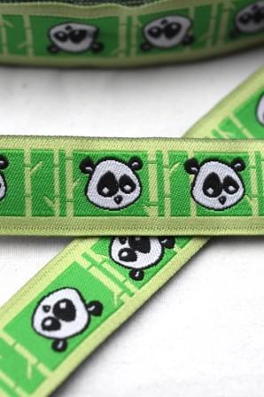 Panda Kopf, grün, Webband