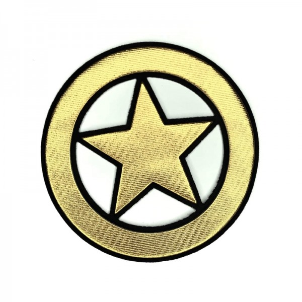Applikation großer Stern im Kreis, gold