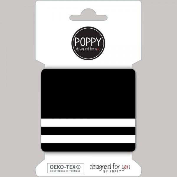 Poppy, Strickbündchen Stripes, schwarz-weiß, 135 cm