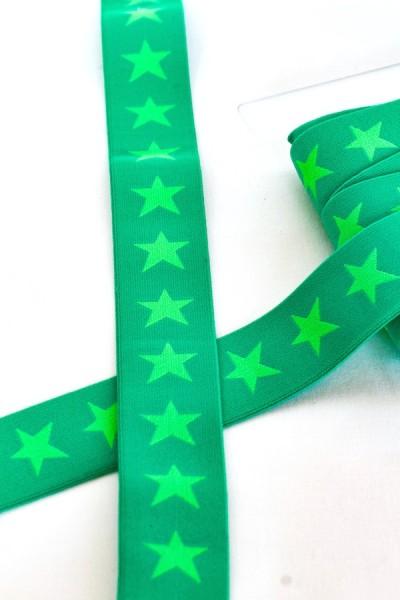 Gummiband breit, Sterne grün auf grün