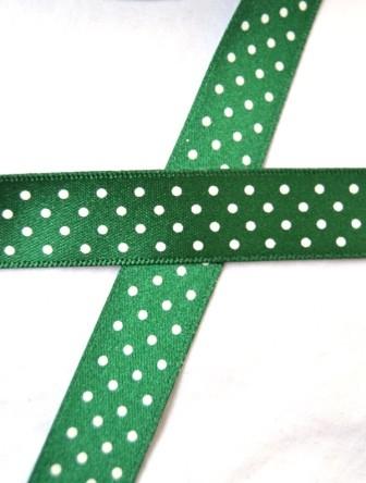 Satinband, micro dots, dunkelgrün, 15 mm