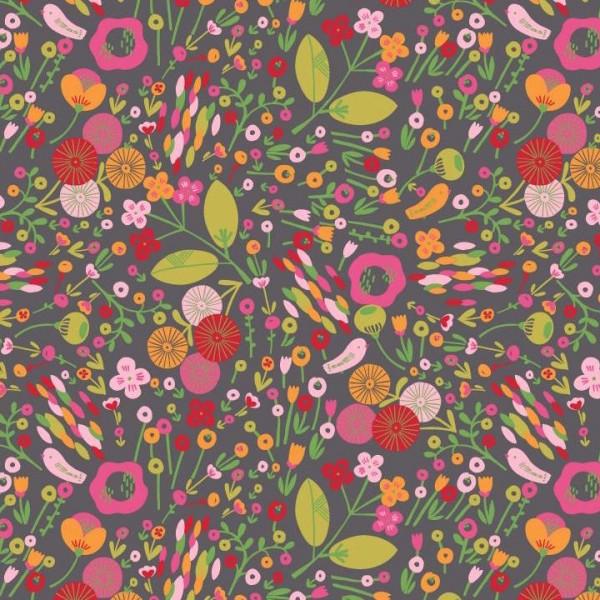 Flowers Festival dunkelgrau, Baumwolllstoff, waschbar bei 60°