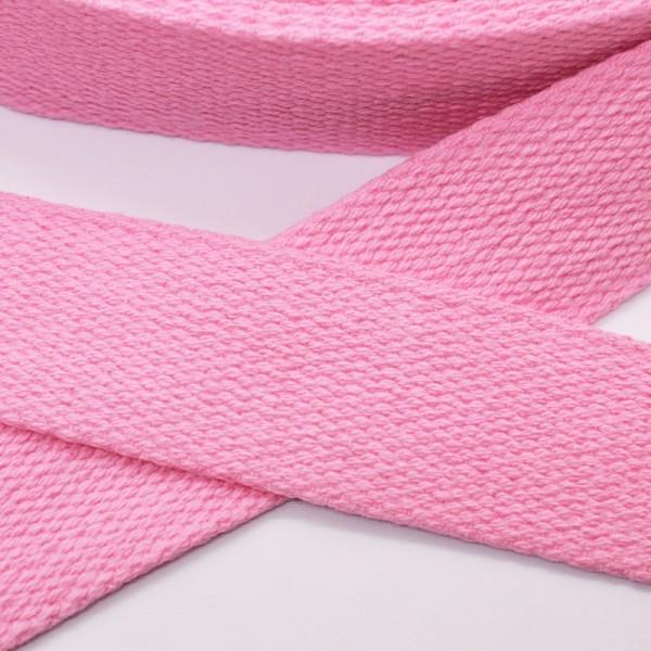 Baumwollgurtband, helles pink, 3 cm