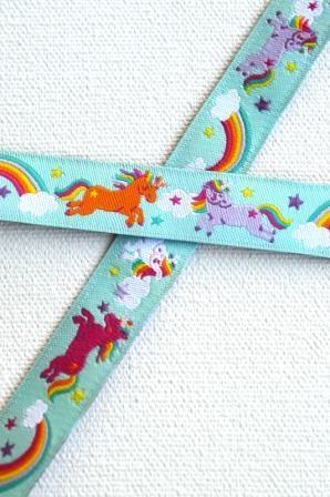 Rainbow Unicorns, helles türkis, Webband