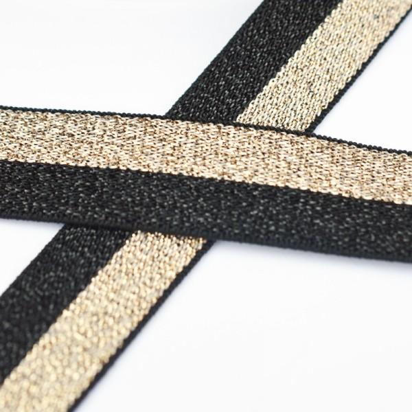 Glitzergummiband, schmal, schwarz-gold