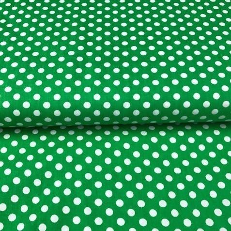 Stenzo Punkte, weiß auf grün, Popeline