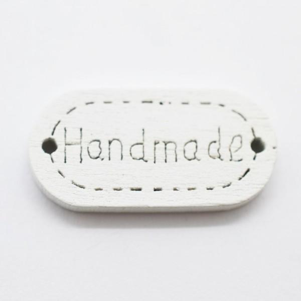 Label aus Holz, handmade, oval, weiß