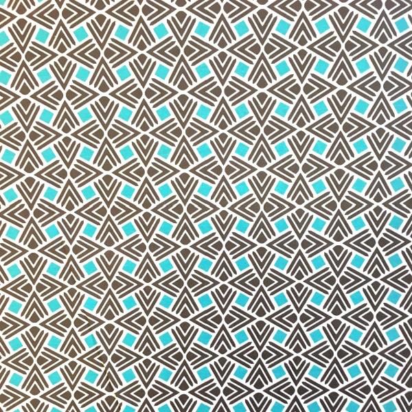 Webstoff Muster türkis-grau