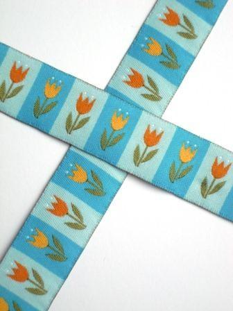 Tulpen, türkis, Webband
