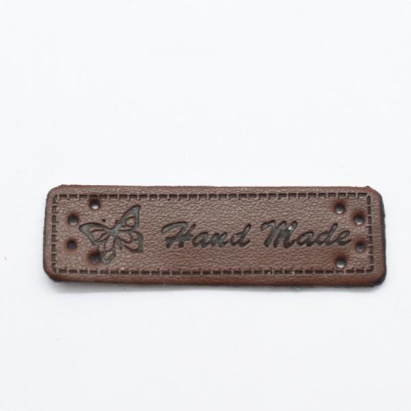 Label aus Kunstleder, handmade, dunkelbraun