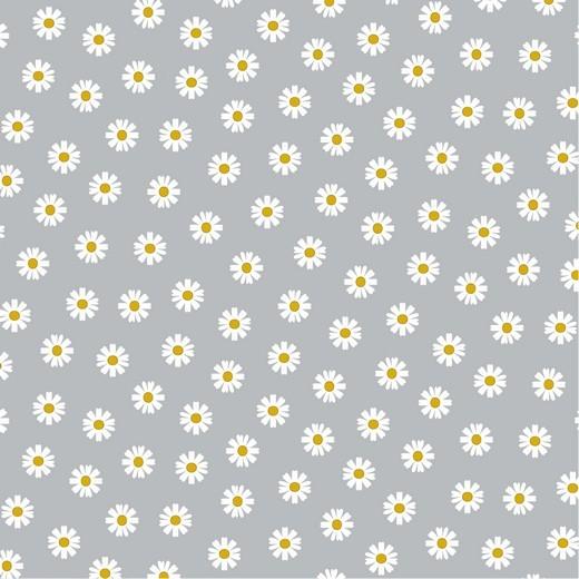 Daisy Flowers auf grau, Baumwollstoff, 60°waschbar
