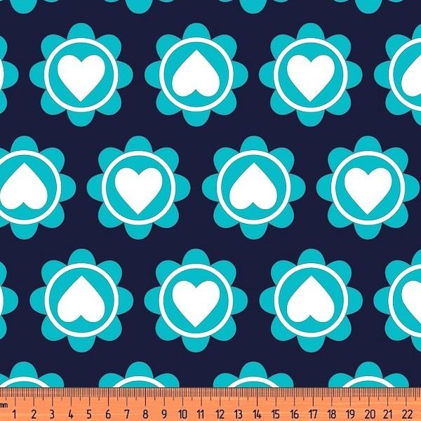 Retro Heart türkis/nachtblau, Bio-Jersey, *Letztes Stück ca. 150 cm*