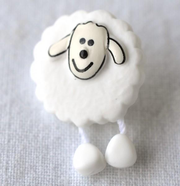 Schaf, weiß, Knopf