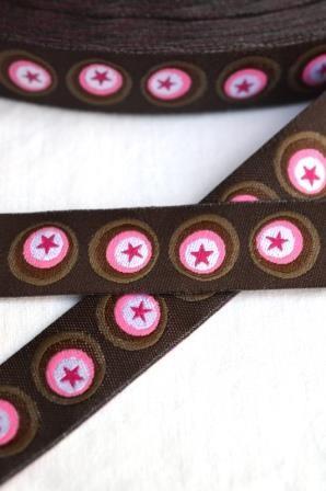 Sterne im Kreis, dunkelbraun-pink, Webband