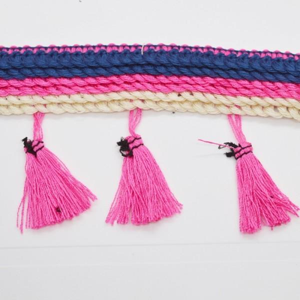 Quastenborte, blau-pink